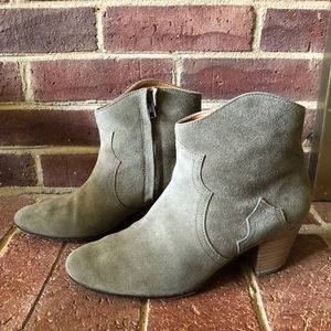 Isabel Marant Taupe Suede Dicker Western Boots